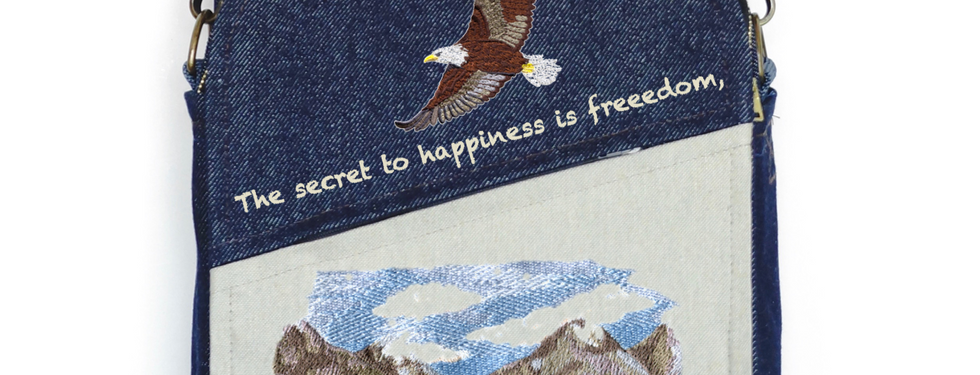 "CANVAS MESSENGER BAG ""The Secret to Happiness"""