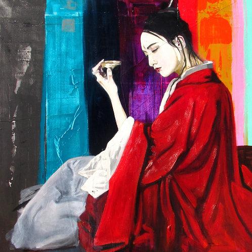 Red kimono tea
