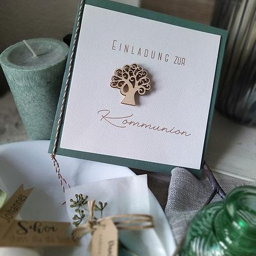 Einladungskarte Kommunion Lebensbaum