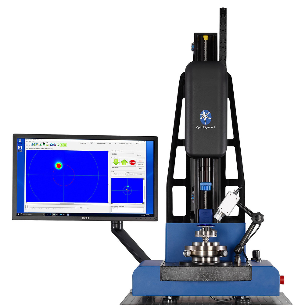 Laser alignment and assembly station, lens centering, optomechanical , electro-optical, optoelectronics, spectroscopy, chromatic, confocal, optical assembly, lens assembly, lens alignment
