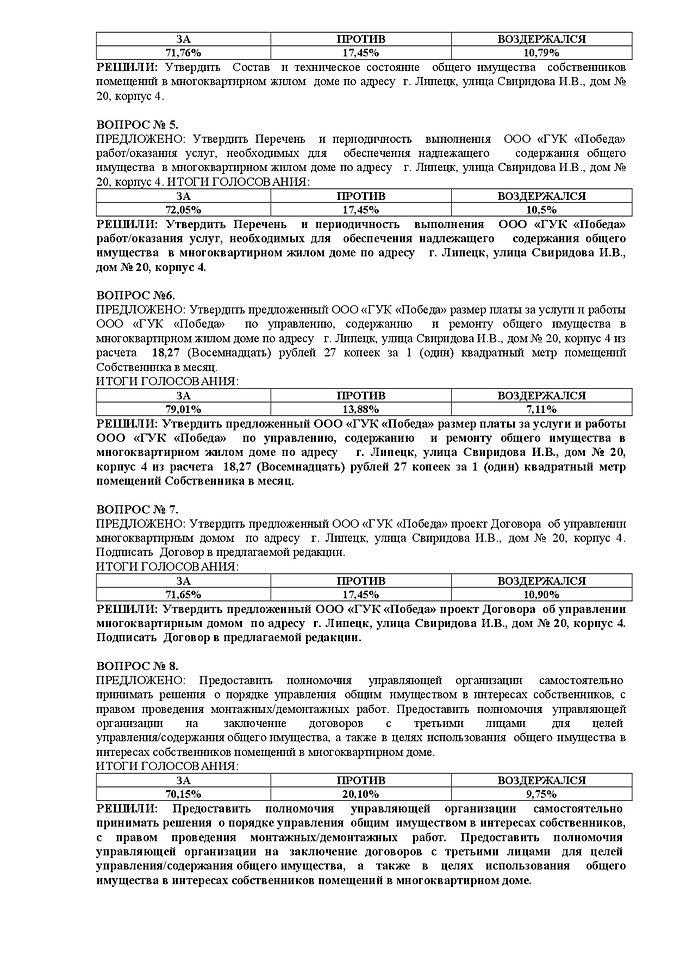 Сообщение об итогах ОСС Свиридова 20к4 о