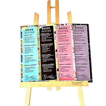 Kids Book Banter bookmarks on an easel