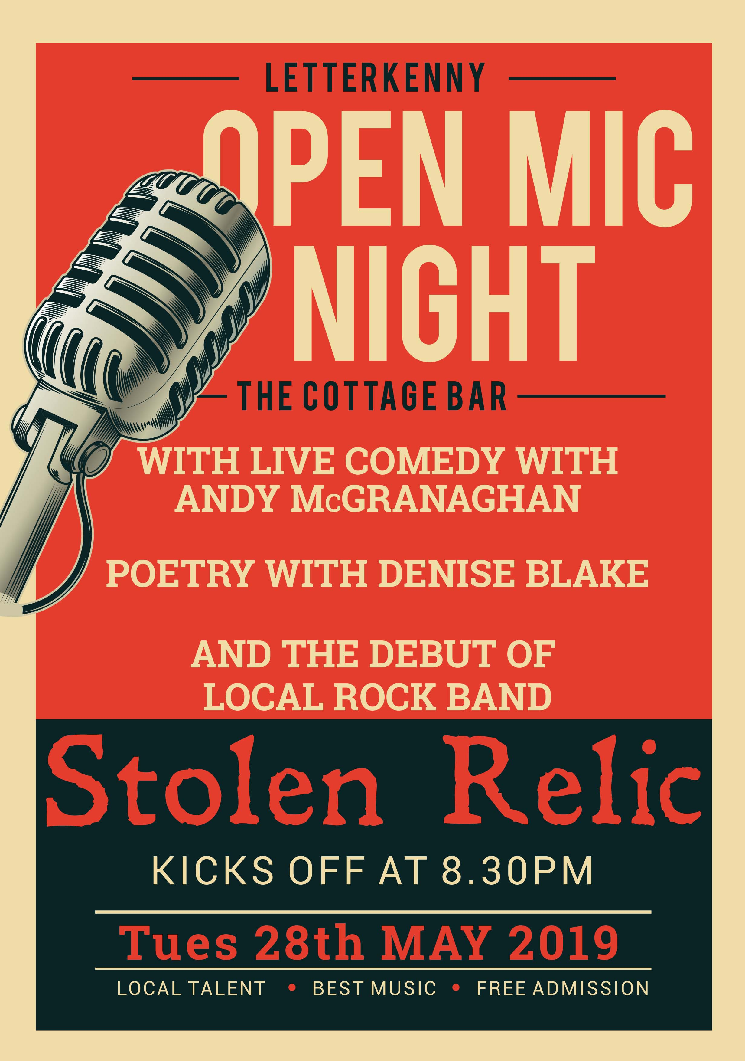 The Cottage Bar Open Mic Poster