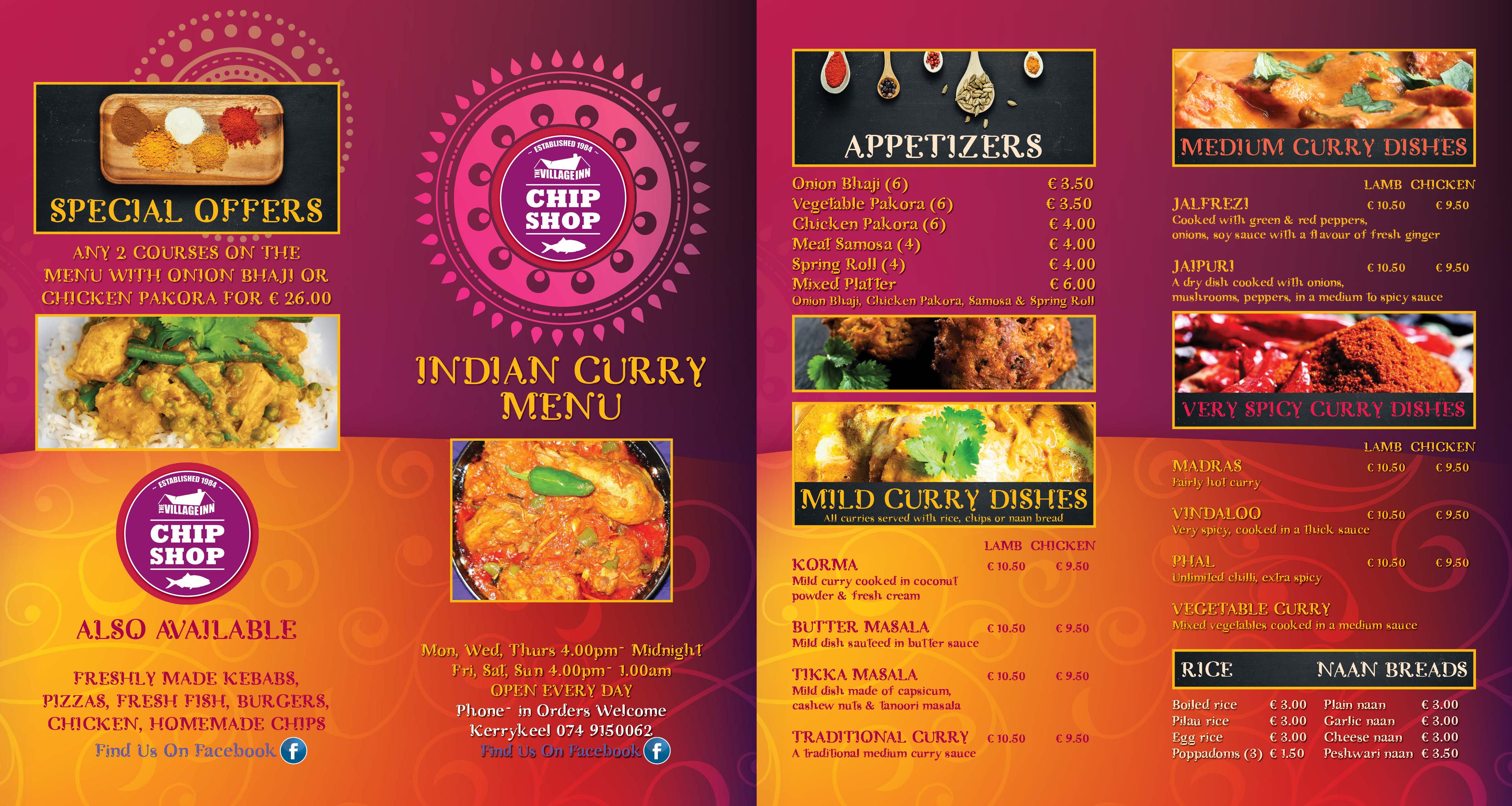 Village Inn Indian Menu