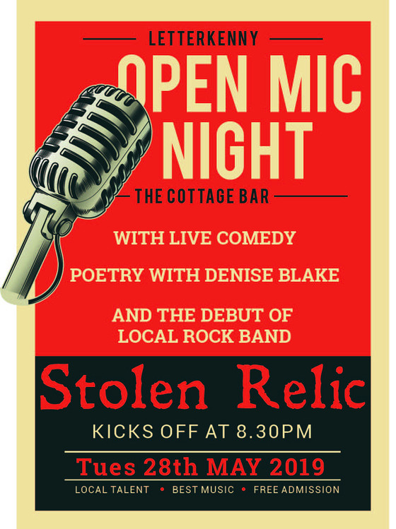 Open Mic Night and debut of local band Stolen Relic