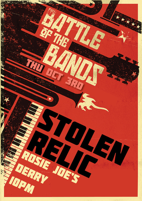 Stolen Relic in Battle of the Bands, Rosie Joe's, Derry - Now Thursday 3rd Oct