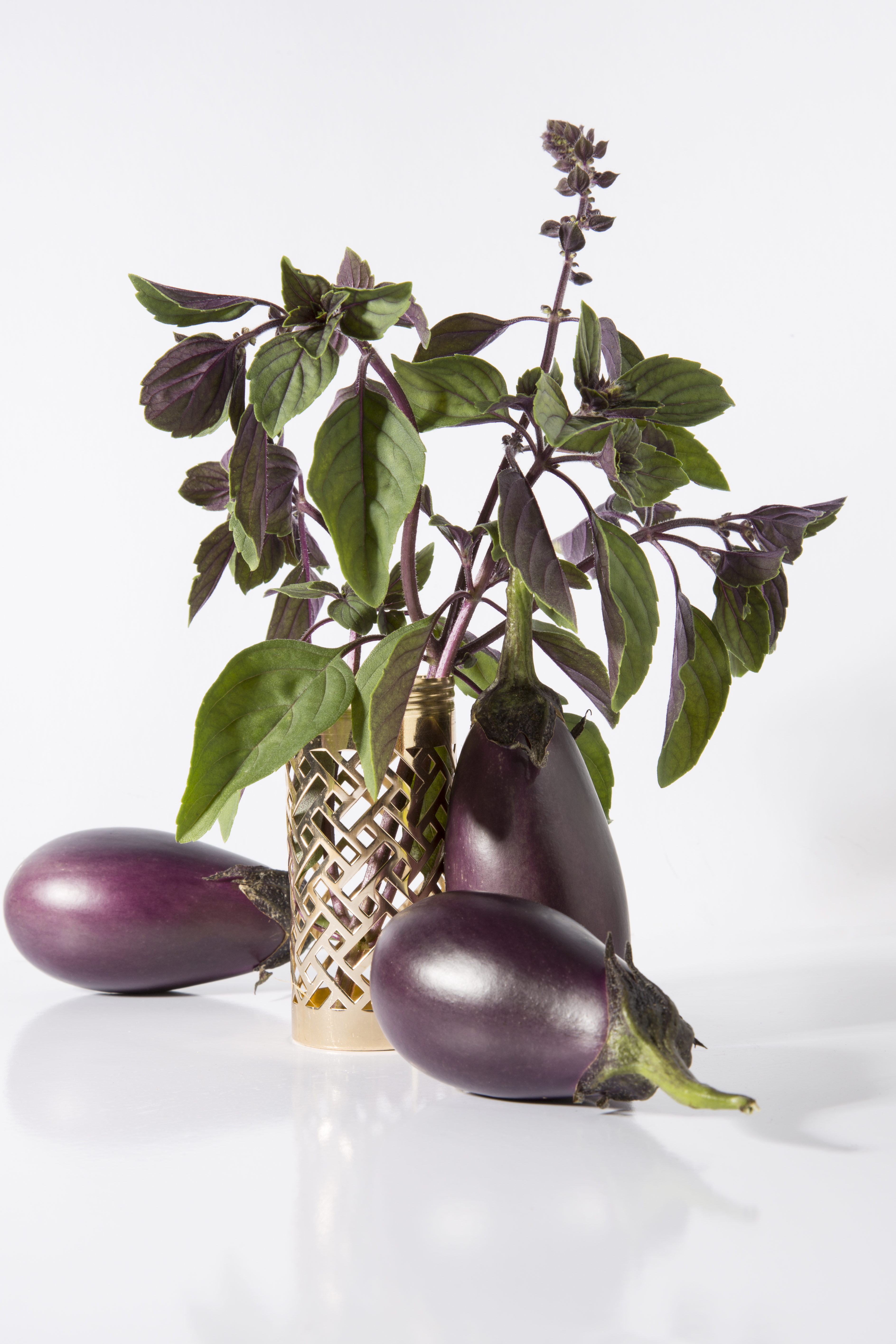 Eggplants and Basil