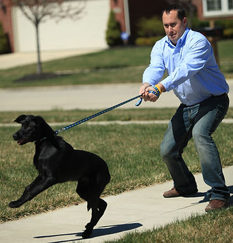a man is trying to control his dog on the leash