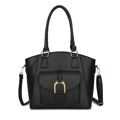 Penny Curve Edge Tote Bag with detachable strap - Black