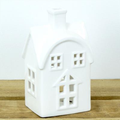 Large White Ceramic House Tealight Holder