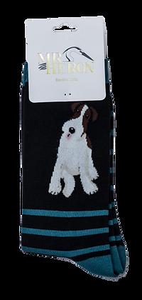 Mr Heron Bamboo Socks -Fox Terrier Stripes Black
