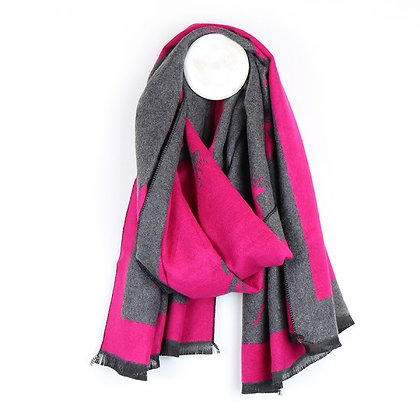 Reversible bright pink and grey jacquard stag scarf
