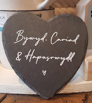 Welsh -  slate heart coaster Bywyd, Cariad a Hapusrwydd