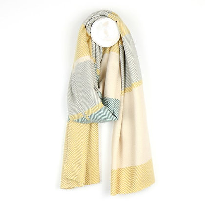 Soft pastel yellow, teal and grey wide stripe scarf