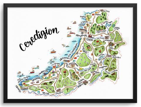 Ceredigion Illustrated Map Print by Megan Tucker
