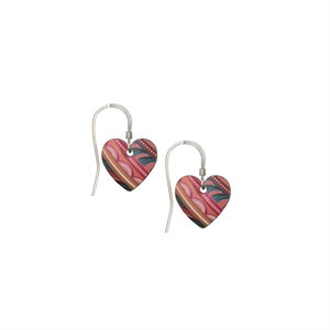 Kate HH Studio Tiger Lily  Small Round Heart Earrings