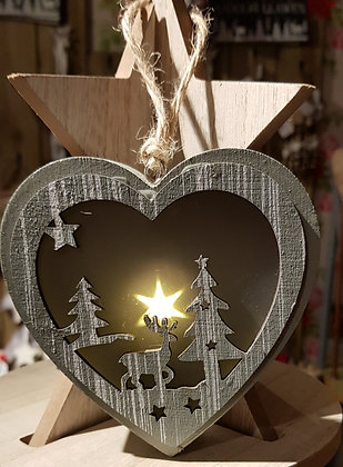Light up Christmas scene heart