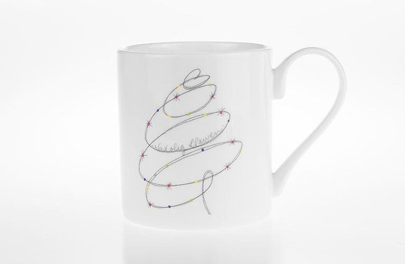 """Nadolig Llawen"" Christmas Tree China Mug"