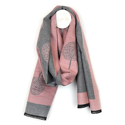 Pink and grey reversible jacquard tree scarf
