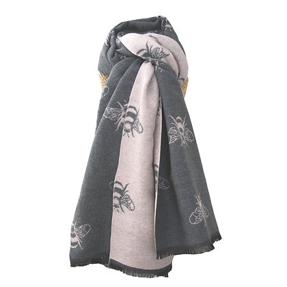 Cosy Bee Scarf - Grey & Pale Pink