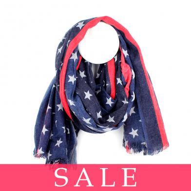 POM Blue Star Red Stripe Wool Mix Scarf - SALE