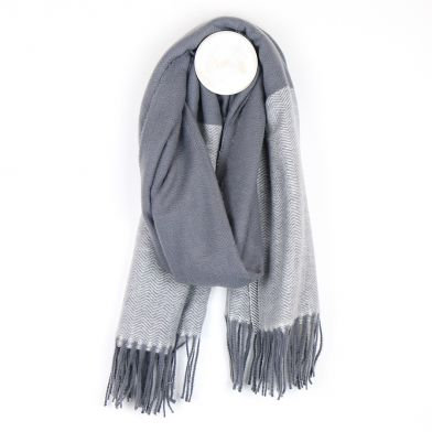 Grey mix herringbone scarf with fringed ends