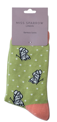 Miss Sparrow Bamboo Socks Butterflies Lime