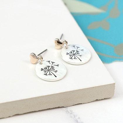 Silver plated dandelion disc and rose gold heart earrings