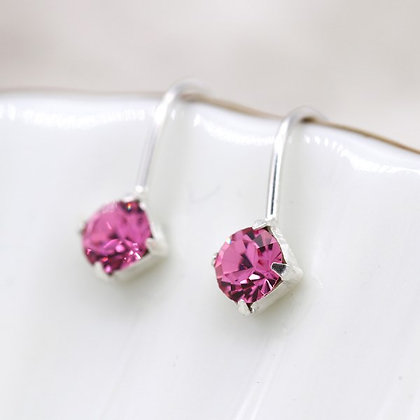 Sterling silver fine drop earrings with little pink crystals