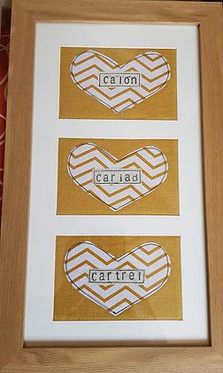 Chwaethus - Cartref - Calon -Cariad 3 panel frame