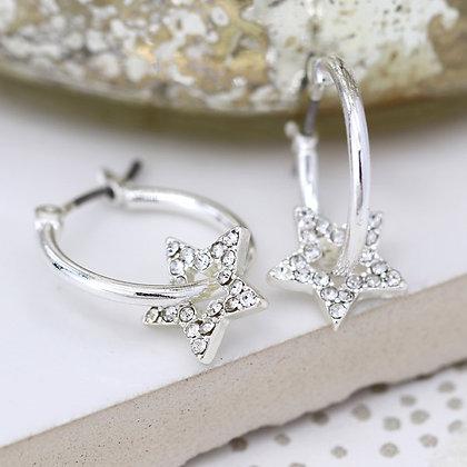 Worn silver hoop and crystal inset star earrings 03290