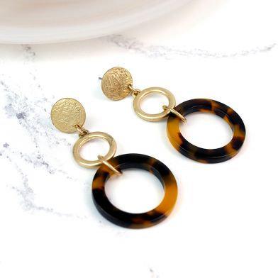 POM Worn Gold Plated Tortoise Shell Hoop Earrings