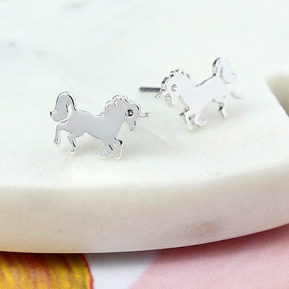 POM Silver plated dancing unicorn stud earrings