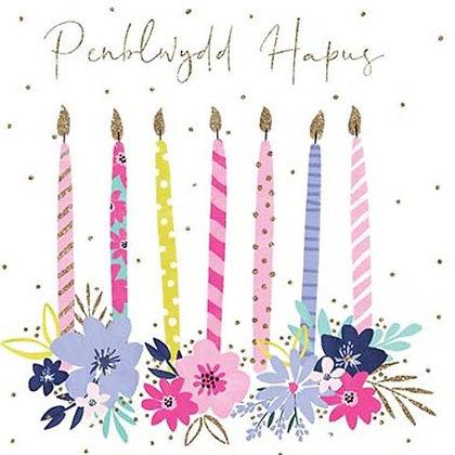 Carden Penblwydd Hapus / Happy Birthday Card - candles