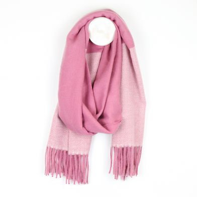 Pink mix herringbone scarf with fringed ends