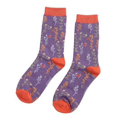 Miss Sparrow Bamboo Wild Flowers Purple Socks