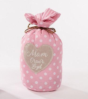 Welsh Pink Polka Dot 'Mam Orau'r Byd' (Workd's Best Mum) Doorstop