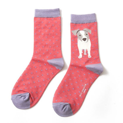 Miss Sparrow Bamboo Jack Russell Pup Socks Pink
