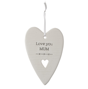 'Love you Mum' ceramic hanging heart