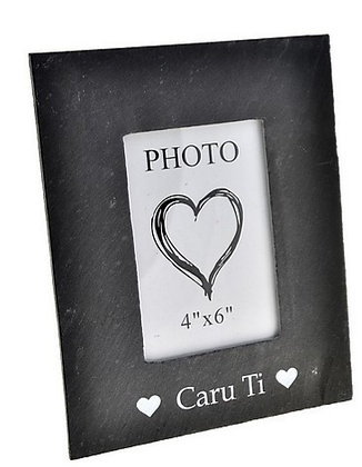 Slate Photo Frame -  Caru Ti (Love You)