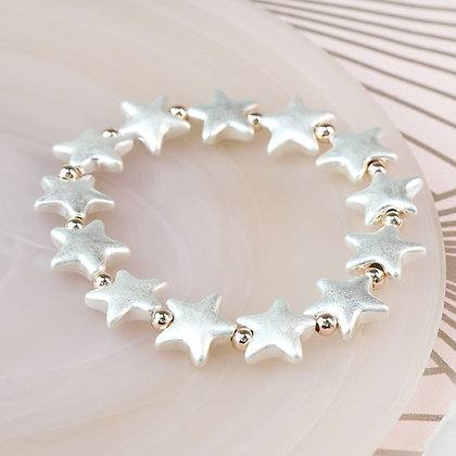 Silver plated matt stars and rose gold bead bracelet
