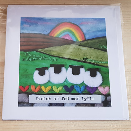"""Carden """"Diolch am fod mor lyfli"""" Card (Thank you for being so lovely)"""