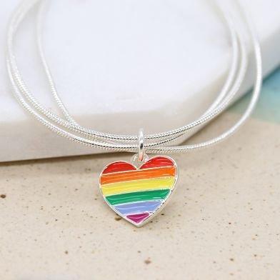 Silver plated triple strand Bracelet with enamel rainbow