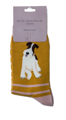 Miss Sparrow - Fox Terrier Stripes Socks Mustard