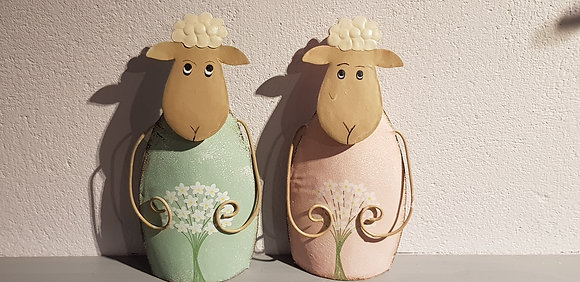 Pink and Green Metal Sheep Decoration