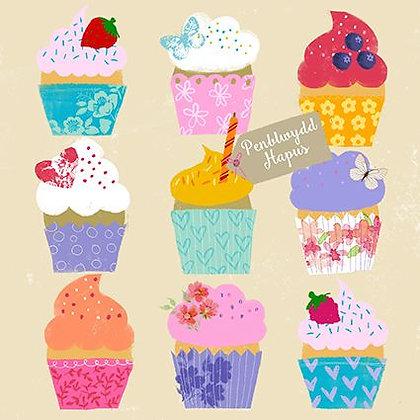Carden Penblwydd Hapus / Happy Birthday Card= cupcakes