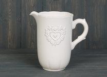 White Ceramic Jug Embossed Heart 18cm