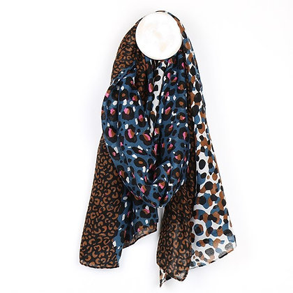 Blue and tan mixed leopard print recycled scarf