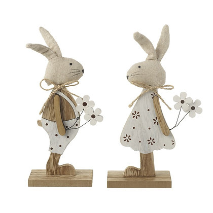 Wooden Boy/Girl Rabbit Ornament