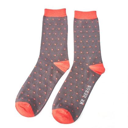 Mr Heron Bamboo Socks -Polka Dots Grey Mens